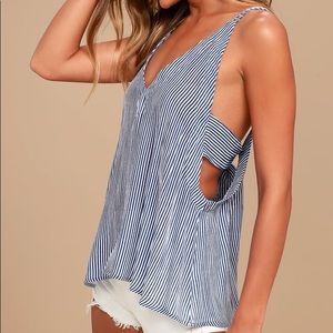 Lulus Adrift Navy Blue and White Striped Tank Top